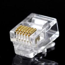 100PCS/LOT RJ12 Connector 6P6C Modular Cable Head Plug Gold-plated Crimp Network RJ 12 For Solid Phone Cables Connectors