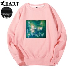 Dandelion Seeds Freedom life Taraxacum Green plant watercolor print Couple Clothes Girl Woman Terry Pullover Sweatshirts ZIIART цены