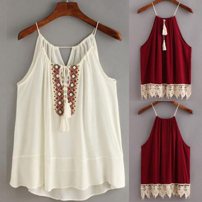 Women Clothes Embroidered Cami Tassel Drawstring Top Tanks Camis Tops Shirt  Halter Vest Women Clothing - Flash Deal #BC07C   Cicig