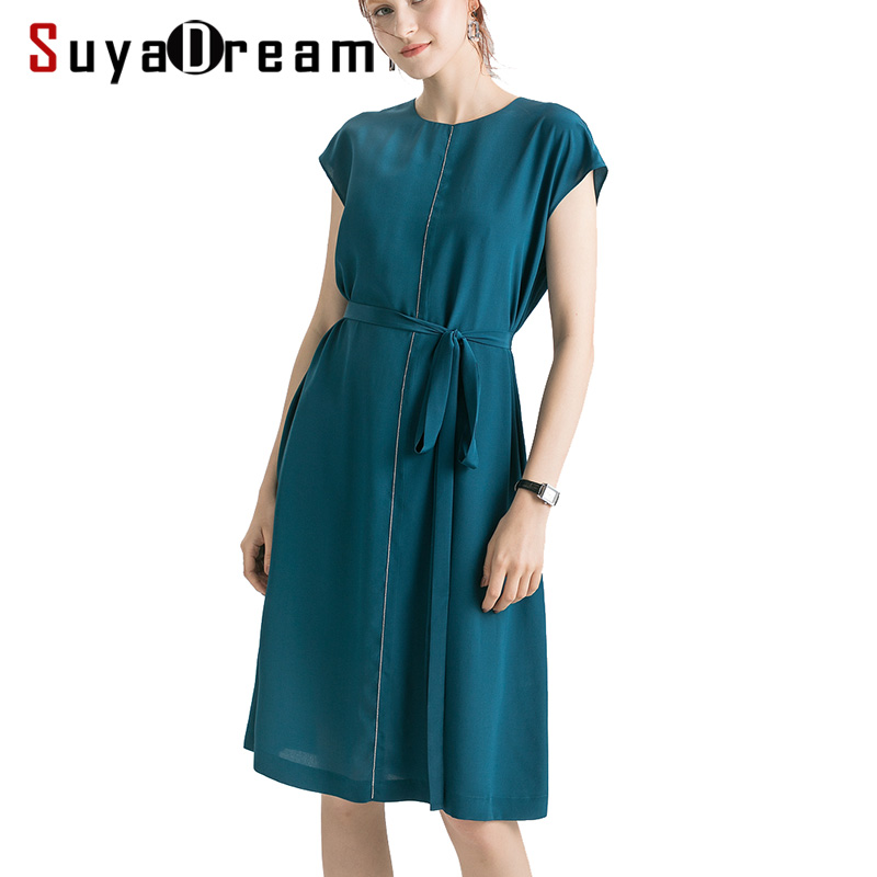 Vestido de Seda Vestido de Verão para as Mulheres Suyadream Mulheres Real Seda Crepe Sash Sólido Escritório Midi Vestidos 2020 100%