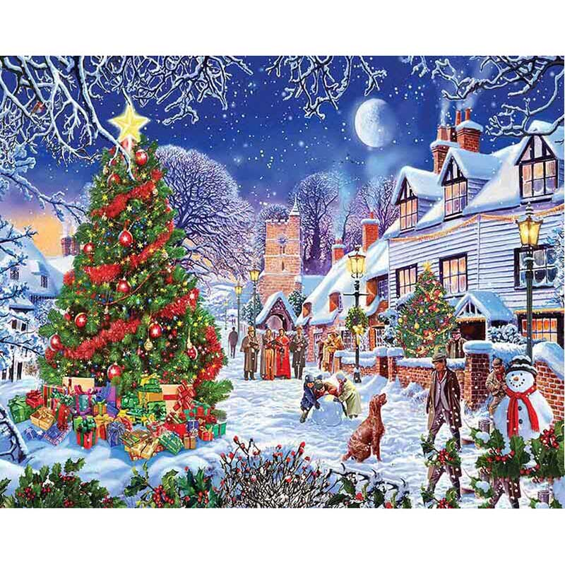 5d Diamond Painting Beautiful Christmas Tree Snow House Landscape