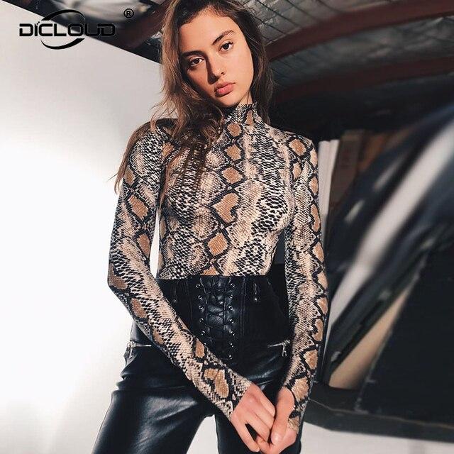 c3d2ed76231b Sexy Snake Skin Bodysuit Women Ladies Clubwear Playsuit Bodycon Jumpsuits  Rompers Autumn Winter Long Sleeve Turtleneck