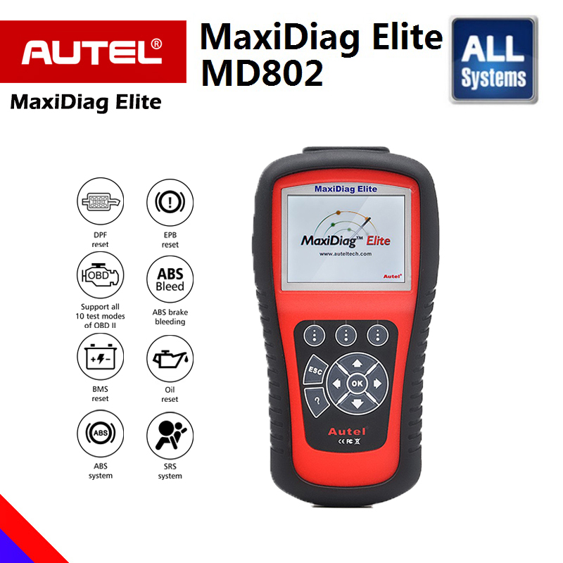 цена на AUTEL MaxiDiag Elite MD802 All System Auto Code Reader Scanner for ABS/SRS/Engine/Transmission/EPB/Oil Reset Diagnostic Tool