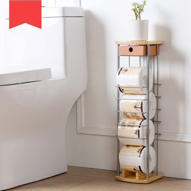 Towel Rack Bathroom Turntable Roll Holder Living Room Roll Paper Shelves Floor Stand Made Paper