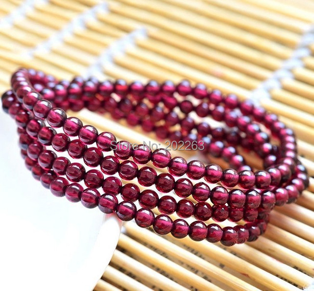 4mm Natural Garnet Round Beads  Bracelet,Fashion Garnet Jewelry Bracelet
