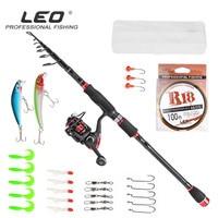 1.8/2.1/2.4/2.7/3m Complete Set Spinning Fishing Rod Combo Rod+Reel+Line+Hooks+Minnow+Soft Maggot Baits Fishing Tackle