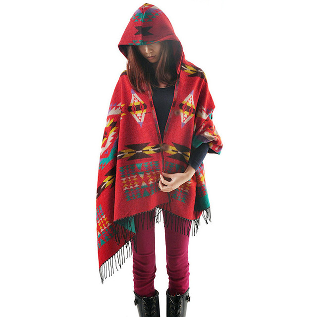 Hot New 2015 Bohemia Folk Style Hooded Cloak Shawls Blanket Scarf Winter Poncho And Cape Pashmina
