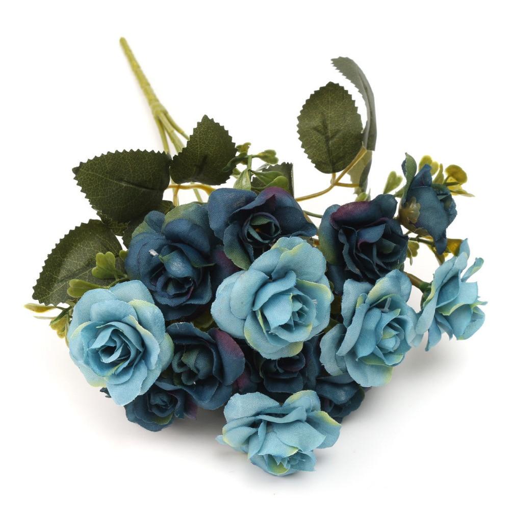 15 Heads Party Tools Blue Rose Flower Austin Autumn Silk Flowers
