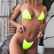 Sexy Thong Bikini Set 2019 Women Swimwear Neon Green Pink Swimsuit Push Up Brazilian Bikini Bathing Suit Maillot De Bain Femme nidalee sexy women swimwear high waist bikini plus size 3xl swimsuit beach bathing suit push up bikini set maillot de bain femme
