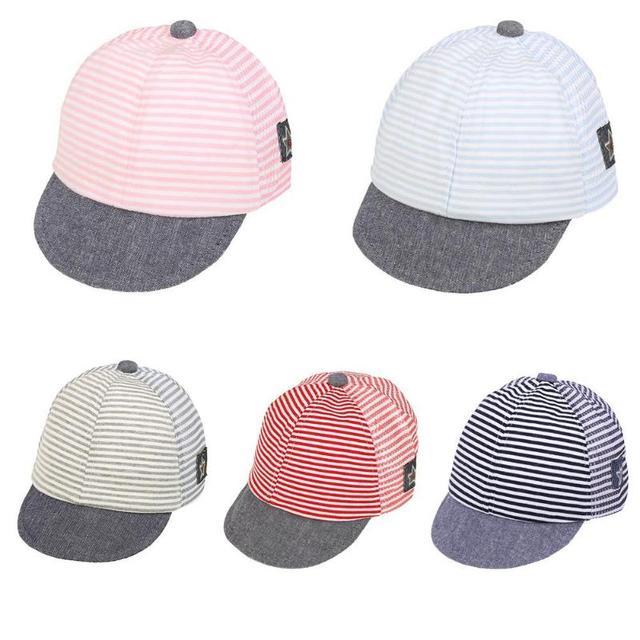 9c32ec632 US $1.86 7% OFF|Summer Fashion Baby Hats Beach Style Basin Mesh Cap for  Boys Girls Children Stripe Pentagram Baseball Cap Soft Brim Kids Beanie-in  ...