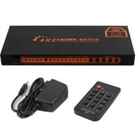 Hdmi switch 4x2 4K@30Hz Converter 1080P HIFI Matrix Switcher with IR Remote Control Support Audio 5V Power Adaptor V1.4/3D Audio