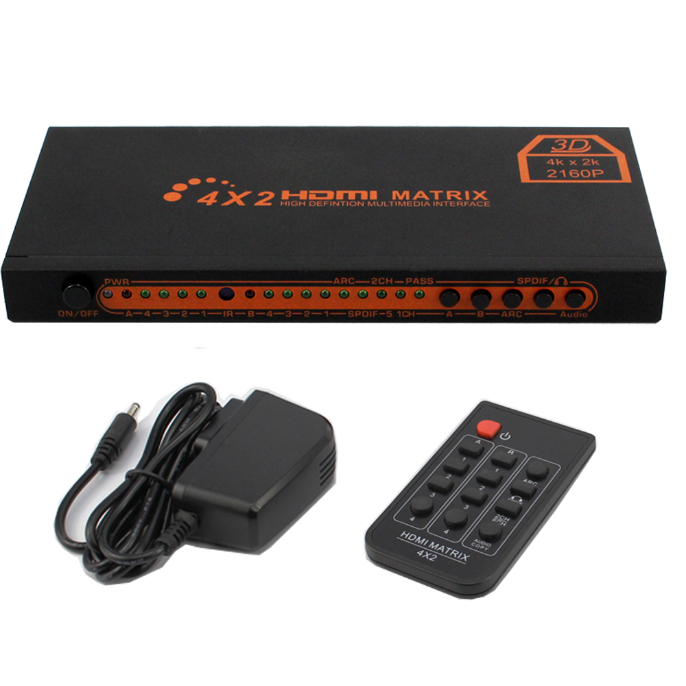 Hdmi switch 4x2 4K@30Hz Converter 1080P HIFI Matrix Switcher with IR Remote Control Support Audio 5V Power Adaptor V1.4/3D Audio one piece figure anime super master stars piece portgas d ace pvc action figure collectible model toy 31 5cm kt4828