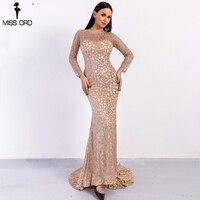 Missord 2018 Sexy O Neck Long Sleeve Pattern Glitter Women Slim Maxi Elegant Dress FT8581 1