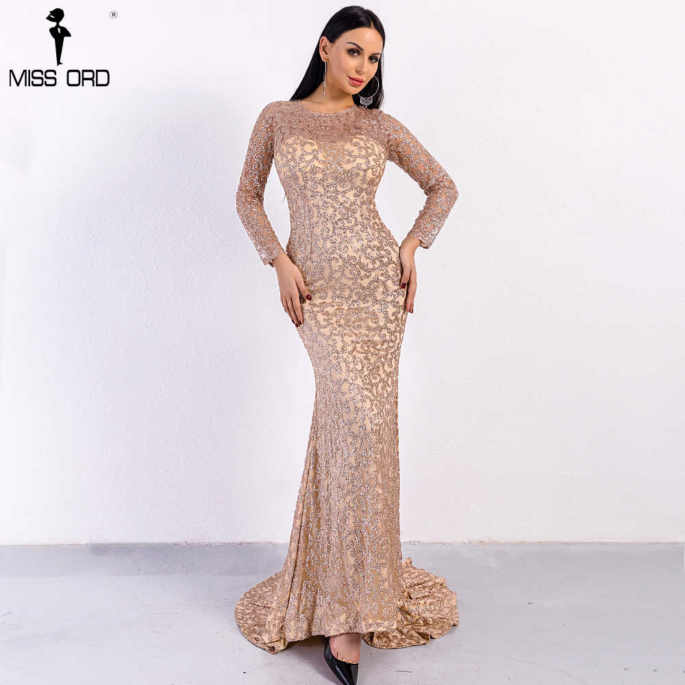 b4851dc529e Missord 2019 Sexy O Neck Long Sleeve Pattern Glitter Women Slim Maxi  Elegant Dress FT8581-1