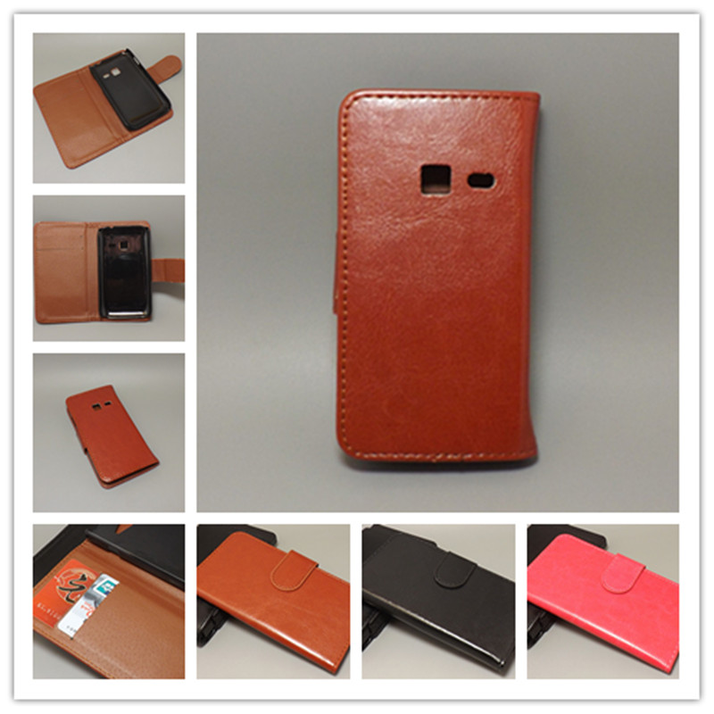 Crazy horse wallet case hold two Cards with 2 Card Holder and pouch slot for Samsung S6802 Galaxy Ace Duos Advance