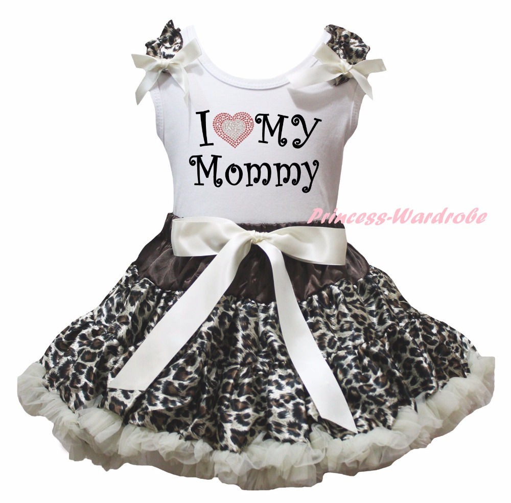White Cotton Shirt Leopard Skirt Girl Outfit Set Dress Mother's Day Valentine Costume 1-8y LKPO0018 white cotton shirt white blue red star petal skirt girl outfit set dress my 1st 6th 4th of july costume nb 8y lkpo0037