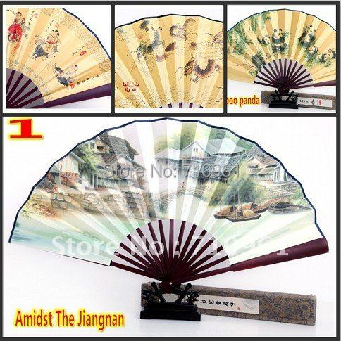 Hot sale full of chinese culture  fan Silk Folding Gift Craft Fan  Bamboo piece folding free shipping