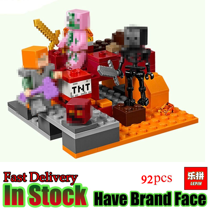 LEPIN Minecraft 94PCS My World the Nether Set Model Fight Building Blocks Brick enlighten toys for children gift lepin my world minecraft 18038 527pcs the nether portal building blocks bricks enlighten toys for children compatible with 21143