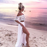 Women Crop Top And Skirt Beach Women Sets Clothes 2018 Womens Suits Set 2 Pieces White Lace Solid Two Piece Set Summer Tracksuit