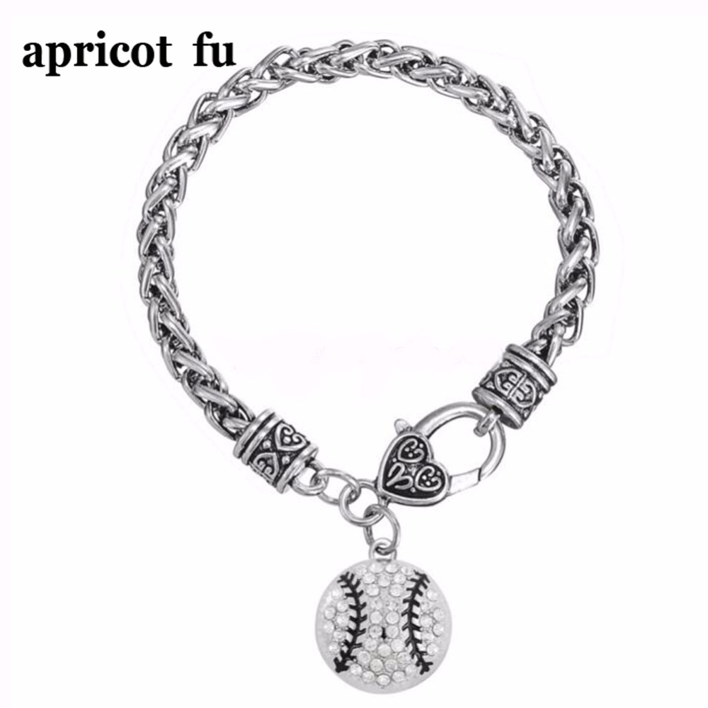 Classic Black Silver Clear Crystal Softball/baseball Sports Wheat Chain Charm Bracelet Jewelry