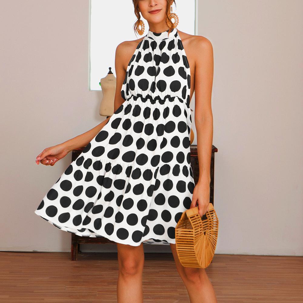 Womens Summer Boho Spotted Mini Dress Casual Off Shoulder Ruffles Short Sundress