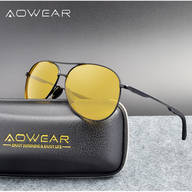 91af16b0558 AOWEAR Brand Designer Night Vision Glasses Men Yellow HD Night Driving Day Night  Polarized Pilot Sunglasses For Rainy Fog Day