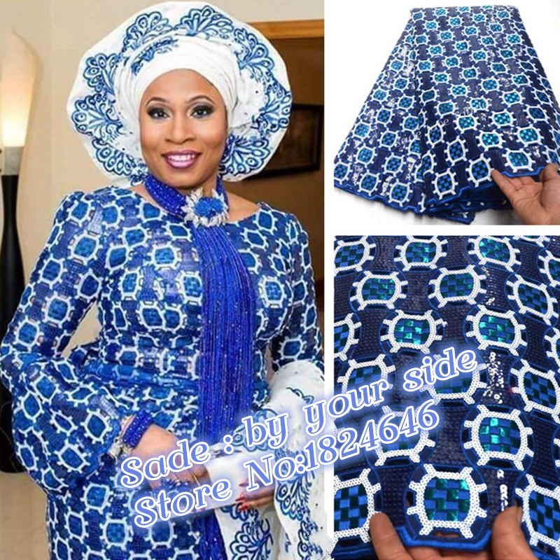 Exclusive Navy Blue African handcut organza lace fabric Swiss voile lace with Allover sequins high quality