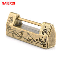NAIERDI Vintage Antique Lock Zinc Alloy Chinese Old Lock Retro Keyer Padlock Jewelry Wooden Box Padlock Lock for Suitcase Drawer(China)