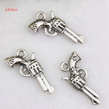 MIC  10pcs Antique Silver gun Charm pendants DIY Jewelry 22 x 12mm za424