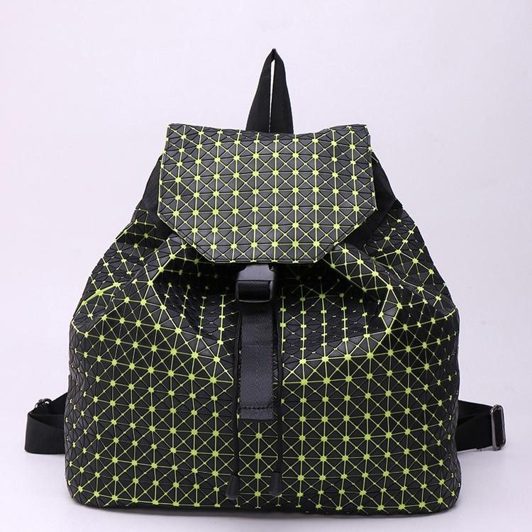 ФОТО Japanese Designer Geometric Lattice PU Leather Backpack Famous Brand Bao Bao Stylish Backpacks For Teenager Girls Shoulder Bag