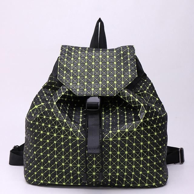 9071d70329 Japanese Designer Geometric Lattice PU Leather Backpack Famous Brand  Stylish Backpacks For Teenager Girls Shoulder Bag