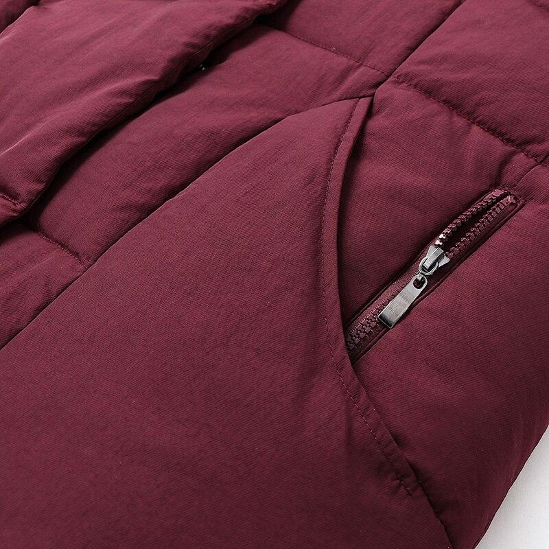 Senza Più Nero Con rosso Formato Mezza Età Lunghe Gilet Cappuccio Donne Cotone Di Imbottito 5xl Maglia In Inverno Spessore Maniche Il Caldo Giacca Donna x8vYq