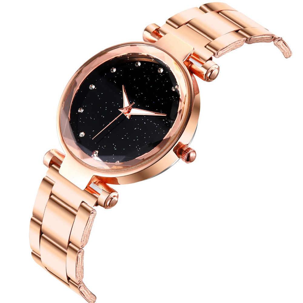 אופנה מגמת כוכבים שמיים נשים שעון נירוסטה רשת חגורת שעון מזדמן טמפרמנט שמלת קוורץ אנלוגי שעון שעון Reloj # L