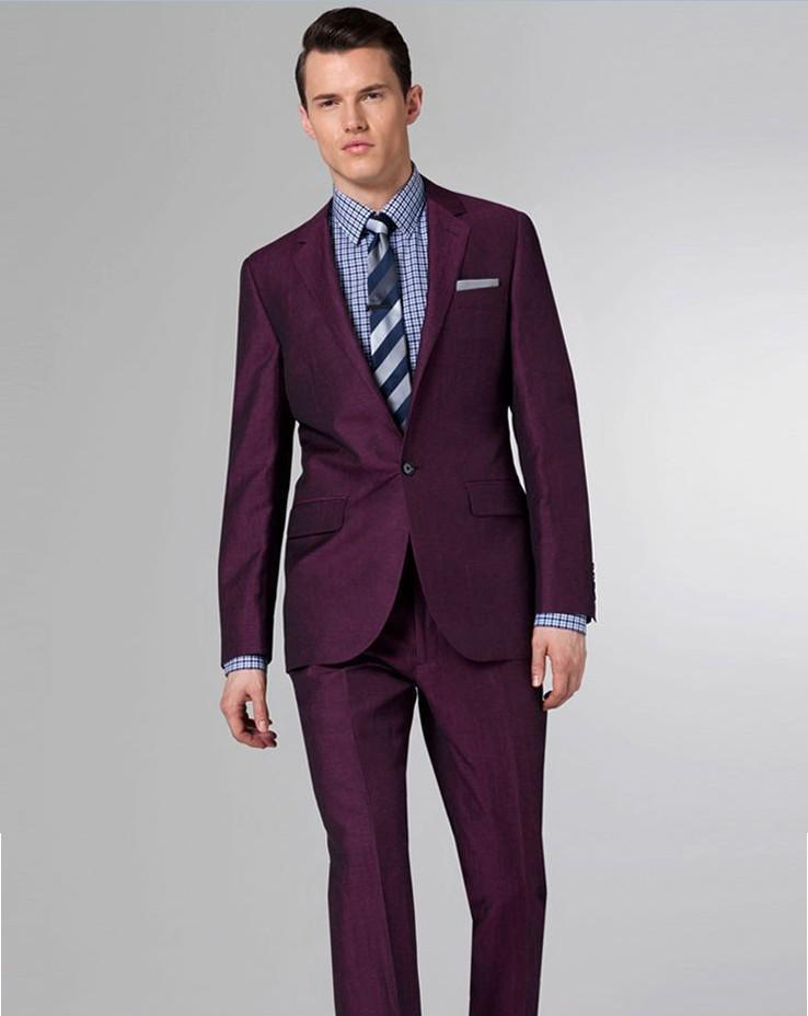 Purple Suit Grooms Men Suit With Pants Wedding Suits For Man Slim ...