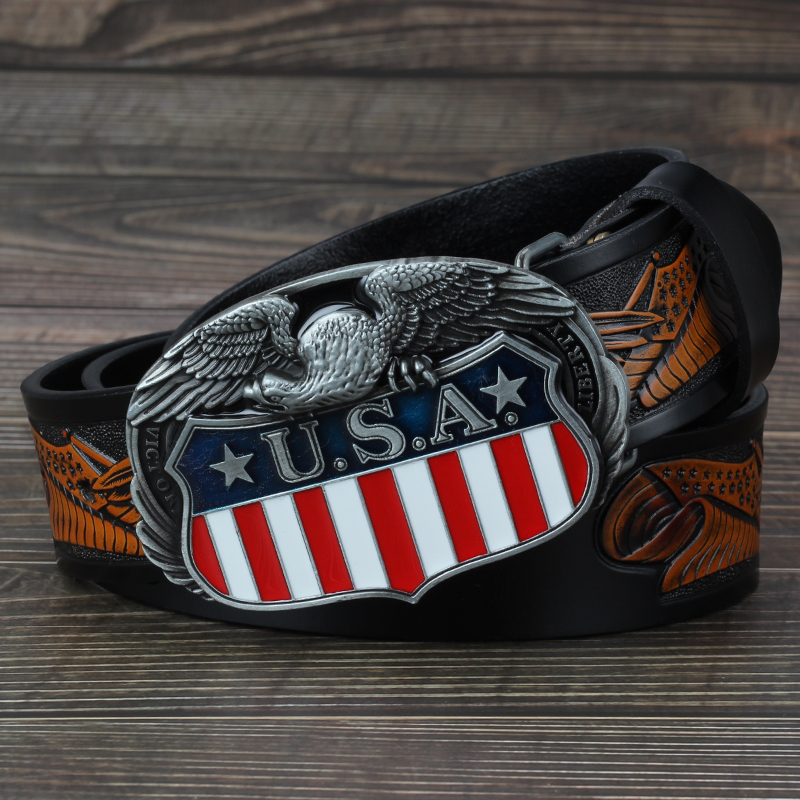 eagle belt buckle Genuine leather men/'s casual belt bulk belt