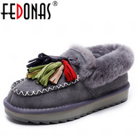 FEDONAS New Fashion Women Genuine Leather Winter Warm Wool Snow Boots Women Ladies Flats Heels Comfortable
