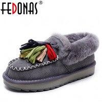 FEDONAS New Fashion Women Genuine Leather Winter Warm Wool Snow Boots Women Ladies Flats Heels Comfortable