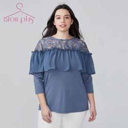 Chiffion блузка кружева лоскутное плюс Размеры блузка Для женщин 2018 Лето Royal Blue Для женщин блузки 6XL 7XL женские Топы Camisa Feminina