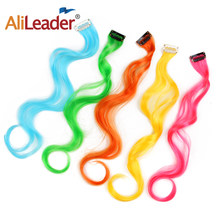 Alileader Synthetic Hair Extensions With Clips Heat Resistant Curl Hair Blonde Clip In Hair Extensions Colored Hair For Girls(China)