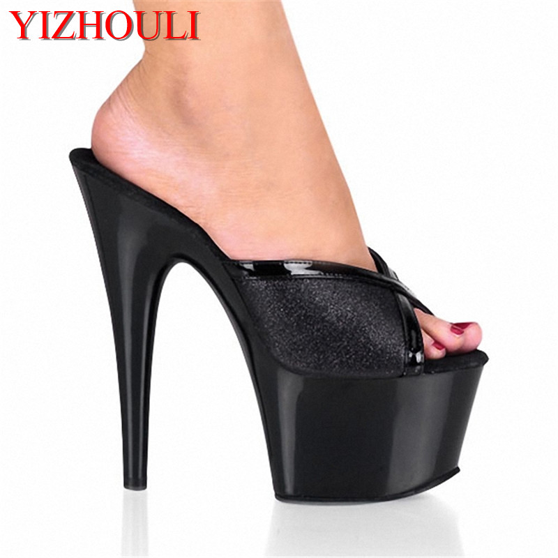 Female Sandals 7 Inch Open Toe Slippers With Bright Glitter Shoes 17cm Ultra High Heels Slippers Sexy Lady Party ShoesFemale Sandals 7 Inch Open Toe Slippers With Bright Glitter Shoes 17cm Ultra High Heels Slippers Sexy Lady Party Shoes