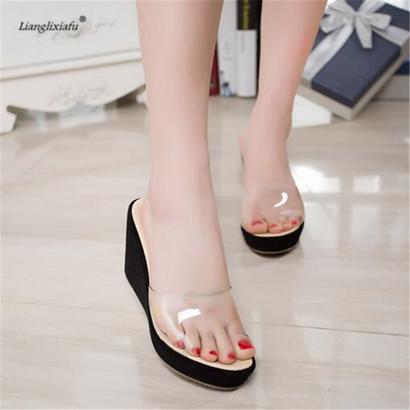 LLXF zapatos outside Slipper Peep Toe 9cm wedges Shoes woman Stiletto female Bling Sandals Small Yards:30 31 32 33 34 sandals genuine leather new woman s shoes high heel 10cm platform 1cm female summer small yards small yards eur size 34 39 page 5