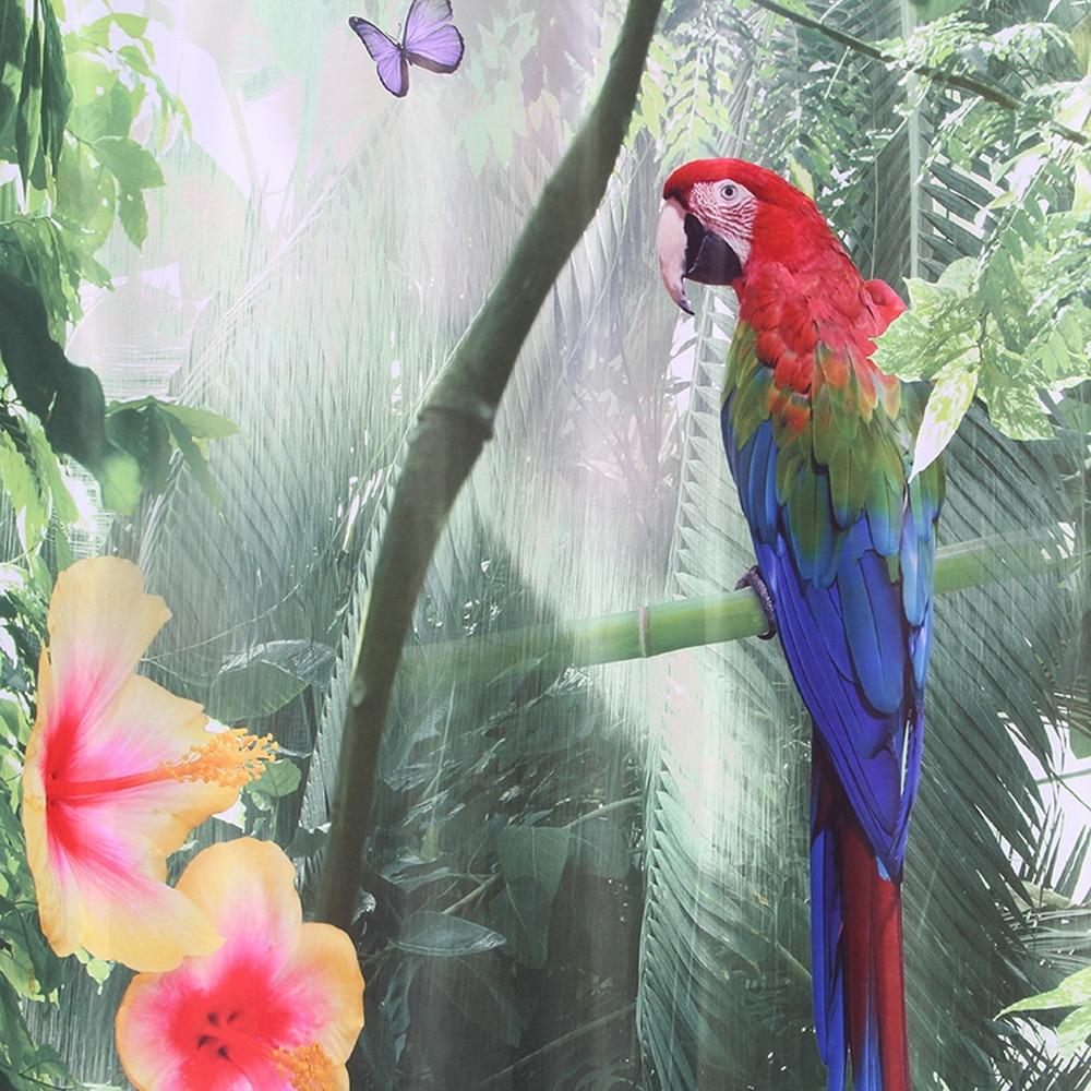 Happy Tree Polyester 3D Röd Papegoja Dusch Gardin 3D Vattenfall - Hushållsvaror - Foto 2