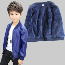 Winter Boys Coat Winter Thicken Velvet Kids PU Leather Jackets Boy's Clothes Warm Fleeced Outerwear 3-16Y Children's Clothing(China)
