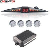 Koorinwo 자동 4 프로브 부저 자동차 주차 센서 키트 역방향 레이더 사운드 경고 표시기 주차 시스템 12V 블랙/화이트/그레이/블루