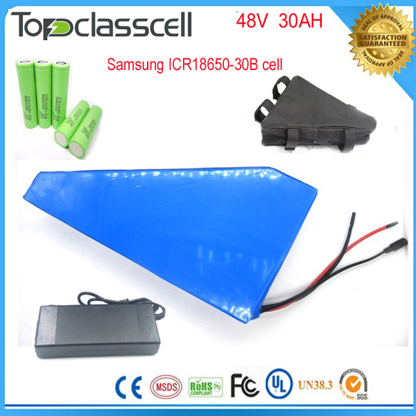 Free customs taxes triangle lithium battery 48V 30Ah electric bike battery 48v 1000w electric bike battery For Samsung cell