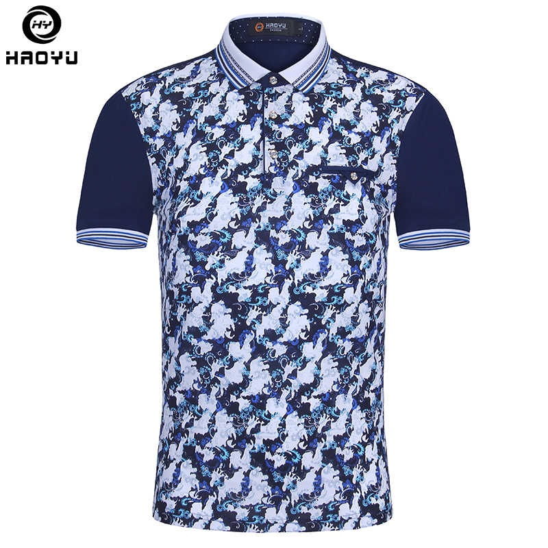 6f294c3b1abd5 Brand New Men Polo Homme Slim Fashion Pattern Printing Summer Short Sleeve  Mercerized Cotton Camisa Polo