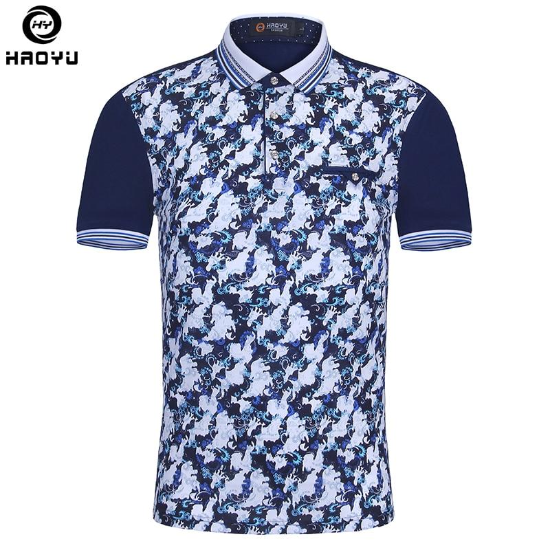 Vadonatúj férfiak Polo Homme vékony divatmintás nyomtatás Nyári rövid ujjú Mercerized pamut Camisa póló ing Férfi plusz méret