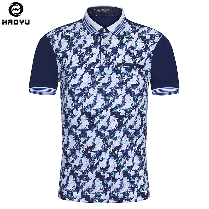 Brand New Men Polo Homme Slim Fashion Pattern Printing Summer Short Sleeve Mercerized Cotton Camisa Polo Shirt Men Plus Size