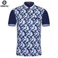 Nova marca homens polo homme fino padrão de impressão de moda de verão de algodão mercerizado de manga curta camisa polo camisa dos homens plus size