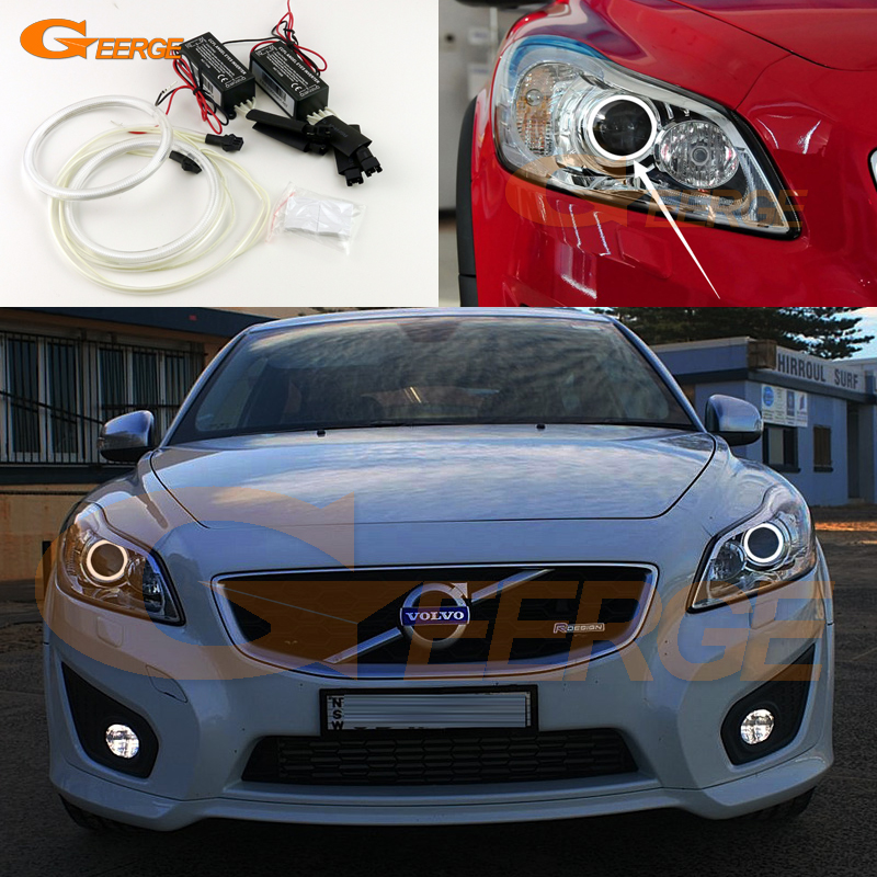 For Volvo C30 2010 2011 2012 2013 Xenon headlight Excellent angel eyes Ultra bright headlight illumination CCFL Angel Eyes kit for honda odyssey 4th g rb3 rb4 chassis 2008 present excellent ultrabright headlight illumination ccfl angel eyes kit halo ring